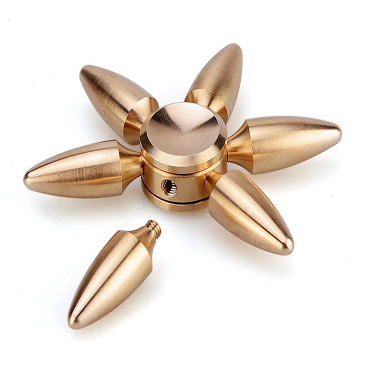 Colorful Six beads metal alloy Bullet finger gyro custom spinner toys