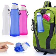 17 Oz portable Silicone Flexible Collapsible Roll up Sports Water Bottle