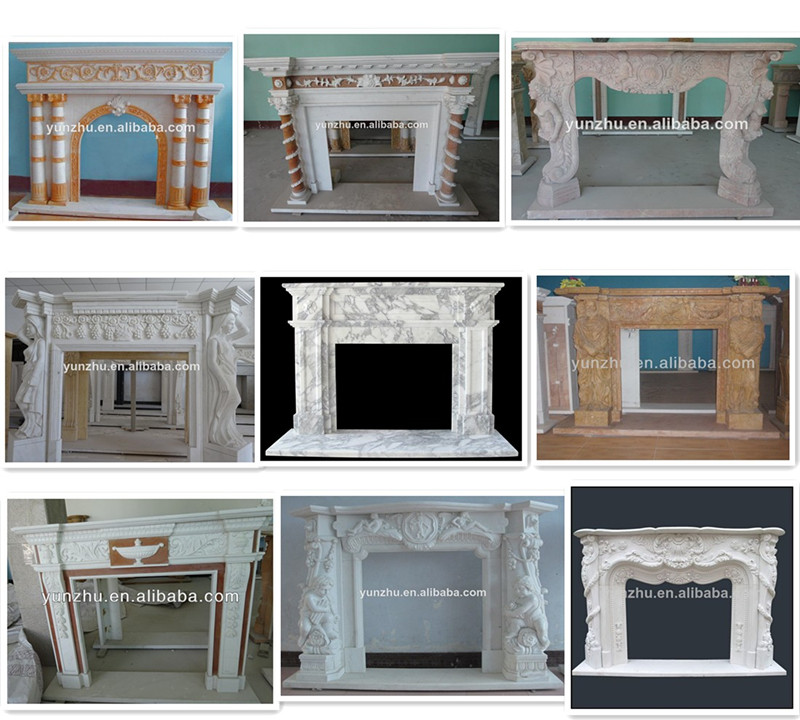 White stone indoor carved marble fireplace frame for Engineered fireplace