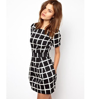 New Fashion Black and White Classic plaid dress fashion summer dress for girl club evening cocktail dress