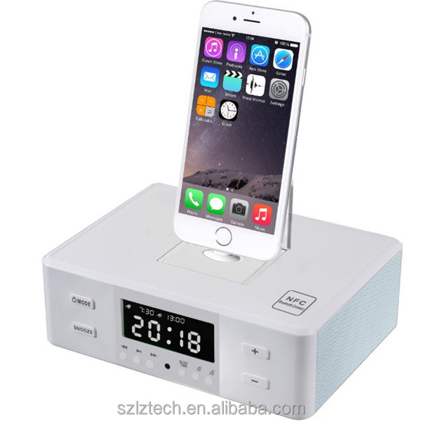 3-in-1 alarm clock dual USB NFC bluetooth speaker docking station with line in