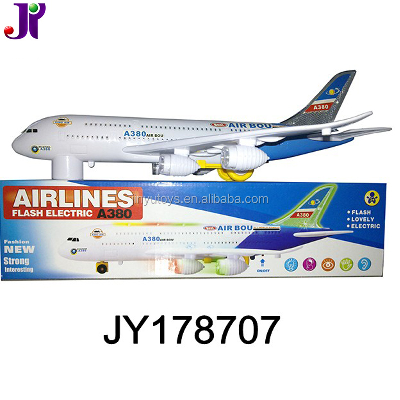 Flash Airplane Toy Bump and Go Electric A380 Air Bus Model Toy W/light and music for kids