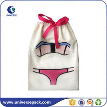Wholesale cotton drawstring lingerie travel bag with customized logo