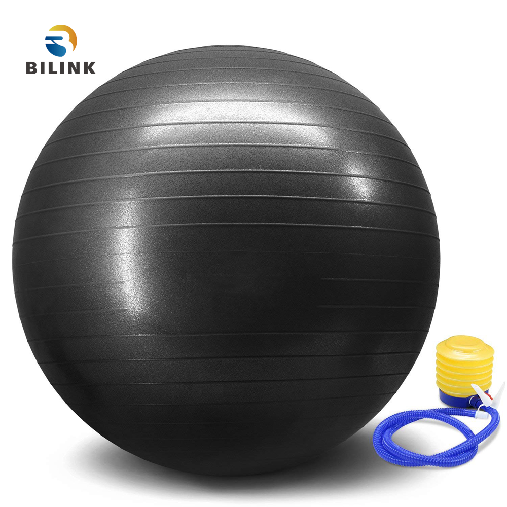 Bilink wholesale custom printed logo pilates exercise 55cm PVC yoga <strong>ball</strong> with Quick Pump