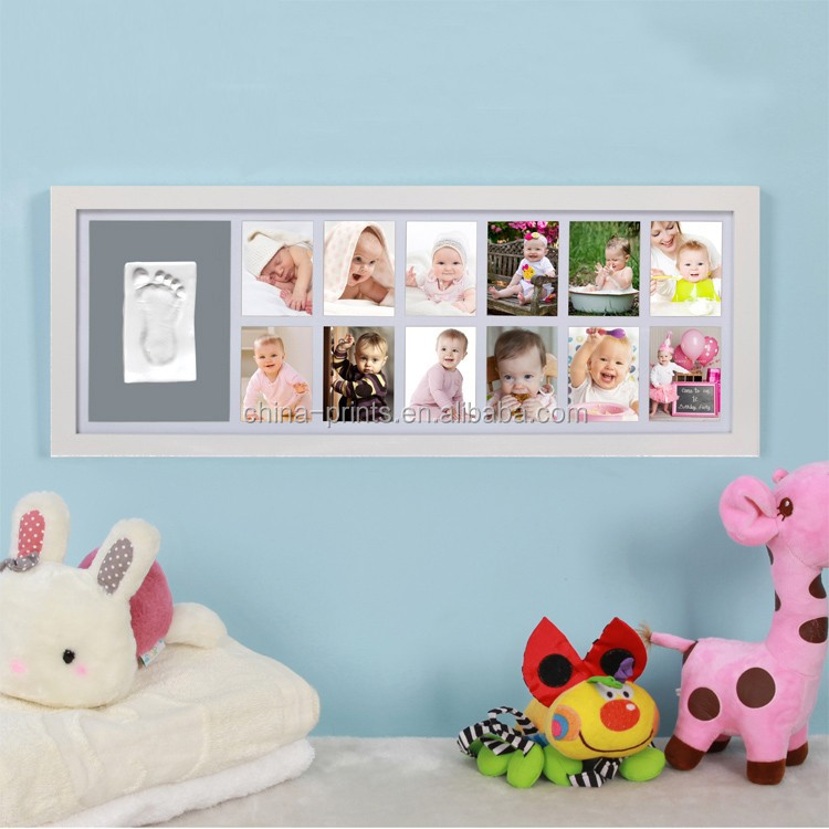 Baby Gift vintage Picture Frame DIY Handprint Footprint Air Drying Nontoxic Clay Wooden Photo Frame Home Baby Bedroom Decoration