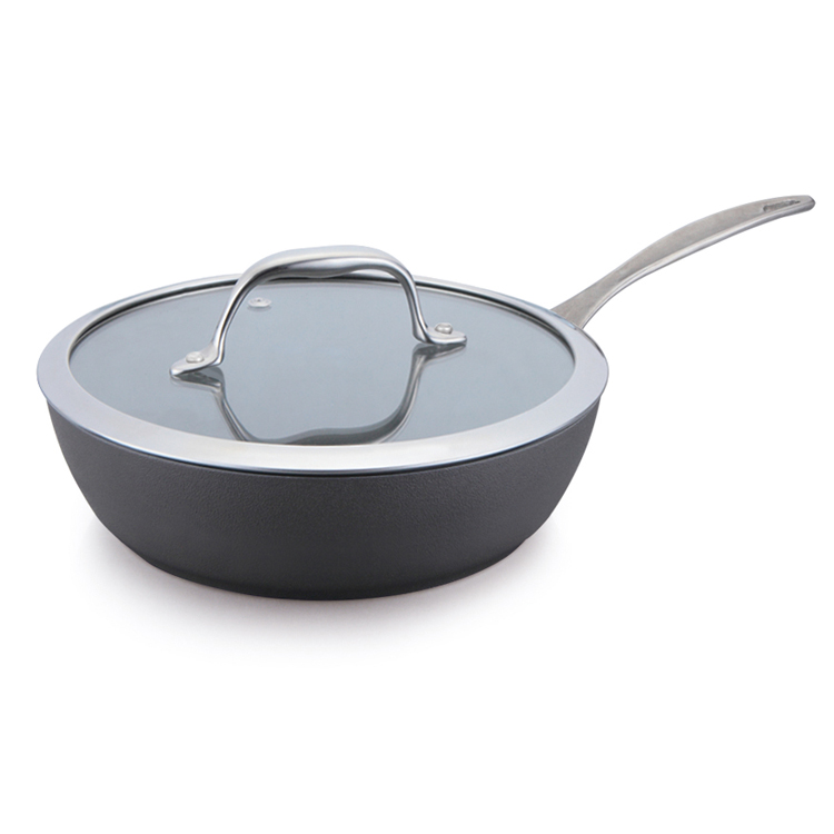 high quality aluminium hard anodized deep frying pan saute pan with glass lid