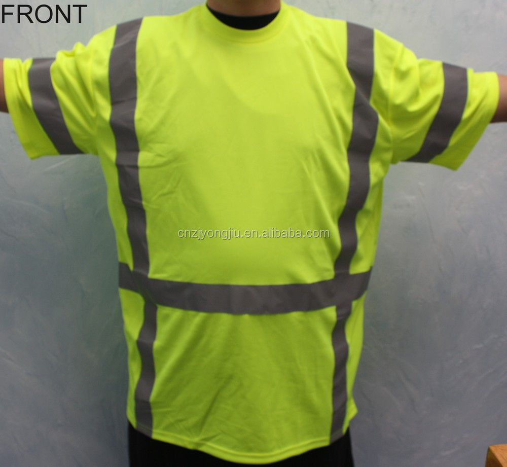 High visibility full cotton safety hi vis garment hi vis for Hi vis t shirts cotton