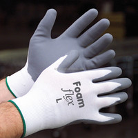 palm coated white nitrile CE EN388 4121 industrial work gloves