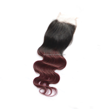 Ombre Two Tone Color Top closure 100% Malaysian Virgin Human Hair free Part Burgundy Lace Closure