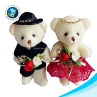 2015 Fashion plush wedding bear for bouquet soft lovely teddy bear wedding dress