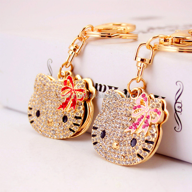 YS153 Yiwu Huilin Jewelry Rhinestone Cute Portable Cat cosmetic mirror key chain
