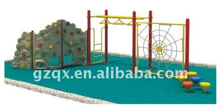 Plastic climbing wall with fitness equipment