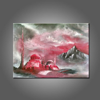 Unique Landscape Wall Artwork Hand Painted Islamic Painting Red And Grey Storm Oil Painting On Canvas No Frame