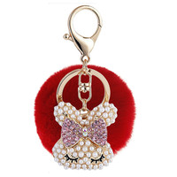 Cute pearl rabbit hairball plush fur pendant girls bag or car keychain