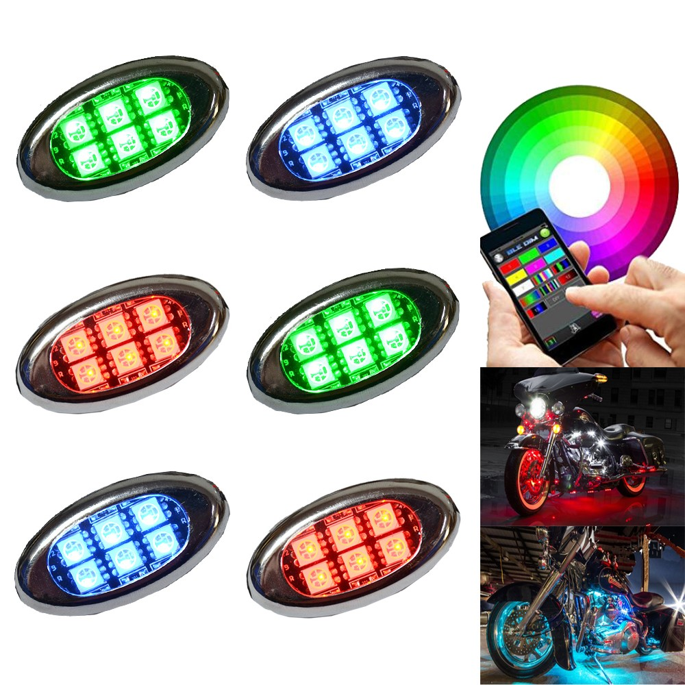 Advanced LED Single Color Motorcycle Accent Glow 5050 Waterproof Oval Pod light kit with Wireless Remote Controller