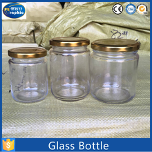 Heat resistant stackable cut glass food jar with swing top aluminium lid