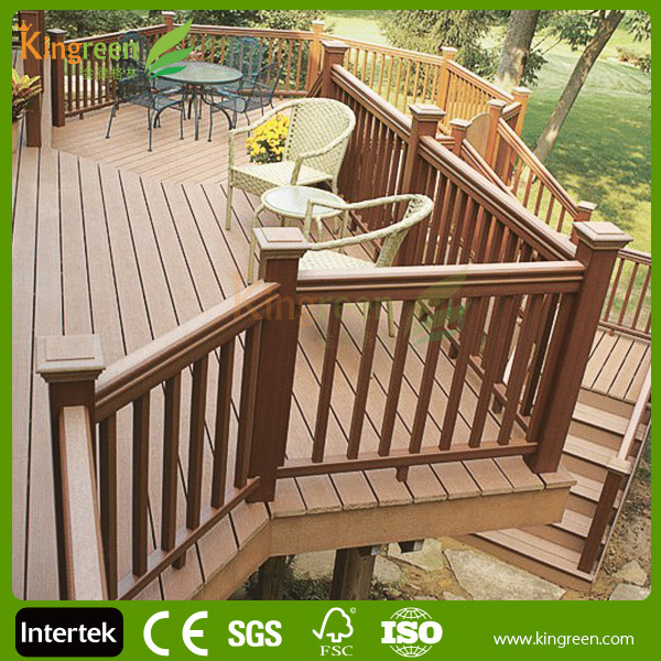 2015 new design with low price decorative wpc deck railing for Low price decking