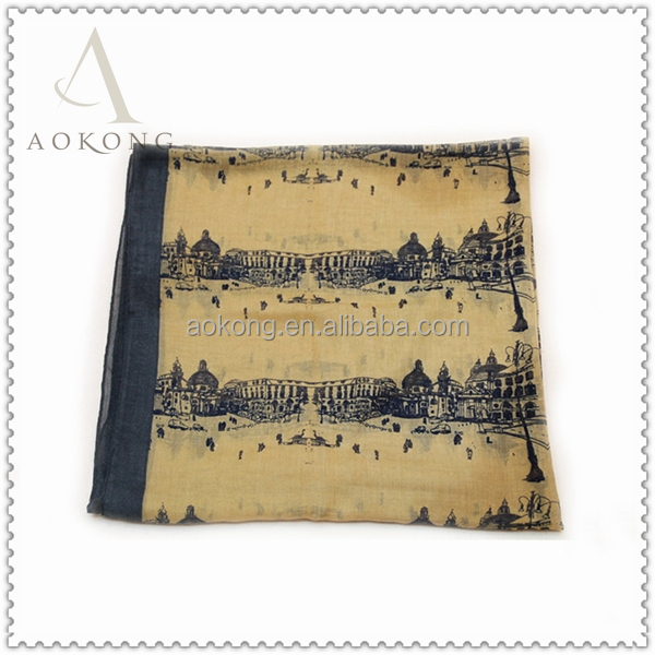 Mustard color europe castle city print scarf