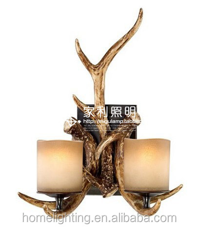 "AL-015 Faux Deer Antlers Candles Glass 17 1/2"" High 2-Light decorative Wall lamp Sconce"