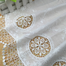 Golden Knit Hot Sale White Cotton Fabric Embroidery Lace Fabric for Lady Dress R13001#