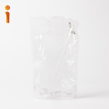 Custom printing packing material stand up clear drink juice packets with straw