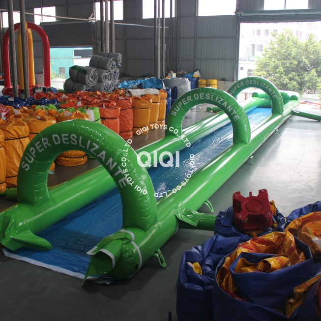 inflatable long slip and single lane slide inflatable water slide for sale