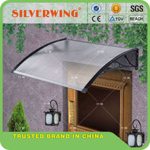 DIY polycarbonate door canopy with plastic bracket support
