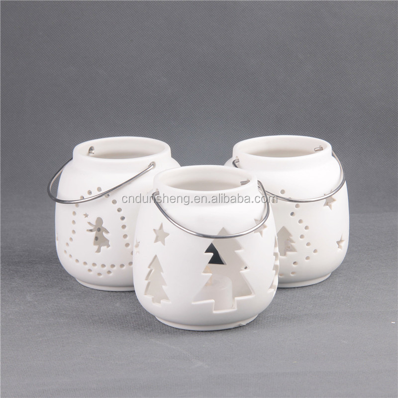 Hollow Out ChristmasTree Porcelain Tea Lights Candle Holder White Unglazed Frosted Surface Candlestick Ornament