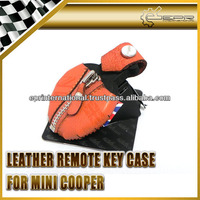 For Mini Remote Real Smooth Leather Key Case Cover Bag Sleeve Wallet Type B ORANGE