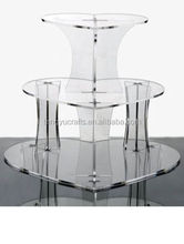 3 TIER HEART SHAPED CUPCAKE STAND ACRYLIC WEDDING CAKE & PARTY DISPLAY WITH PILLARS