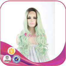 24 Inch Long Natural Wavy Dark Roots Ombre Light Green Heat Resistant Synthetic Lace Front Wigs for Young Pretty Girls