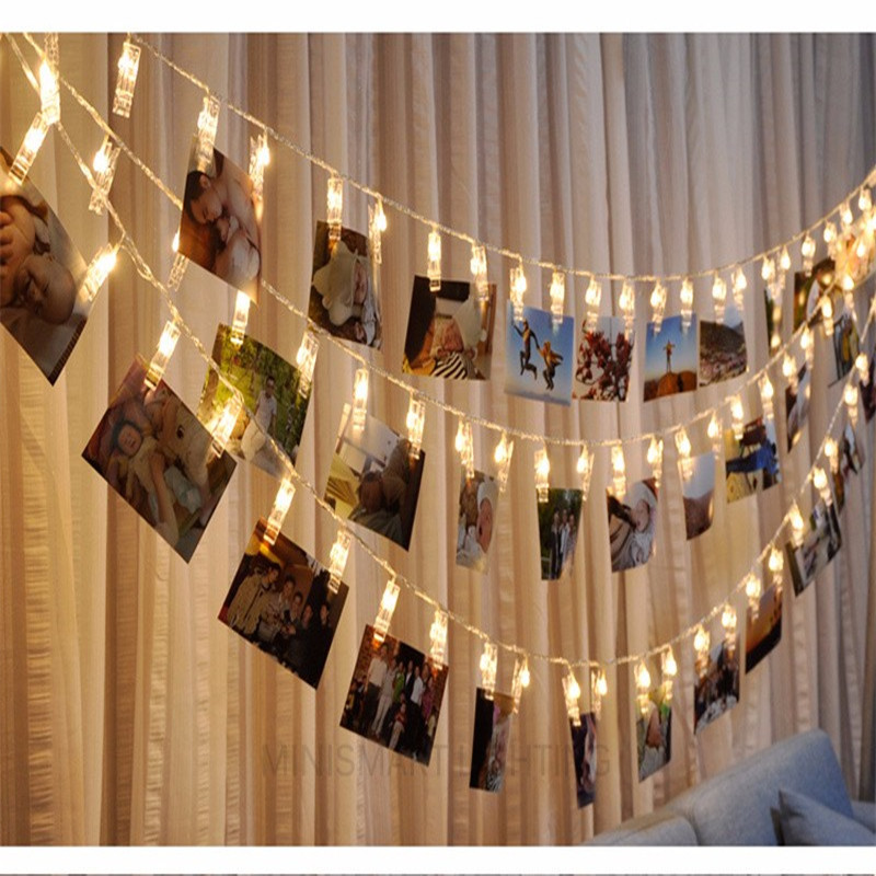 Custom Decorative 5M LED Battery Operated Photo Clip String Lights with 8 Lighting Modes