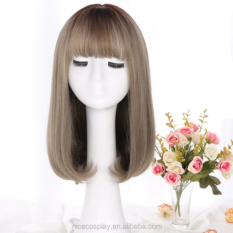 Korea 45 cm Long BOB Head Lace Wig with Air Bangs Straight Synthetic Hair