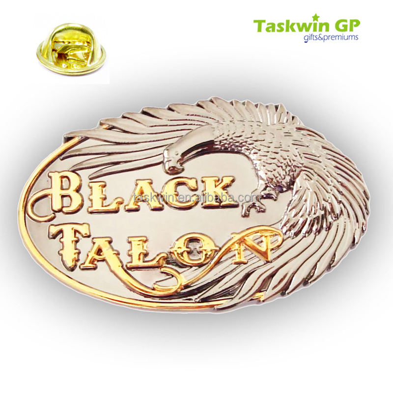 Hot design high quality lapel pin zinc alloy/Oval brass 3D eagle pin badge/collar pin