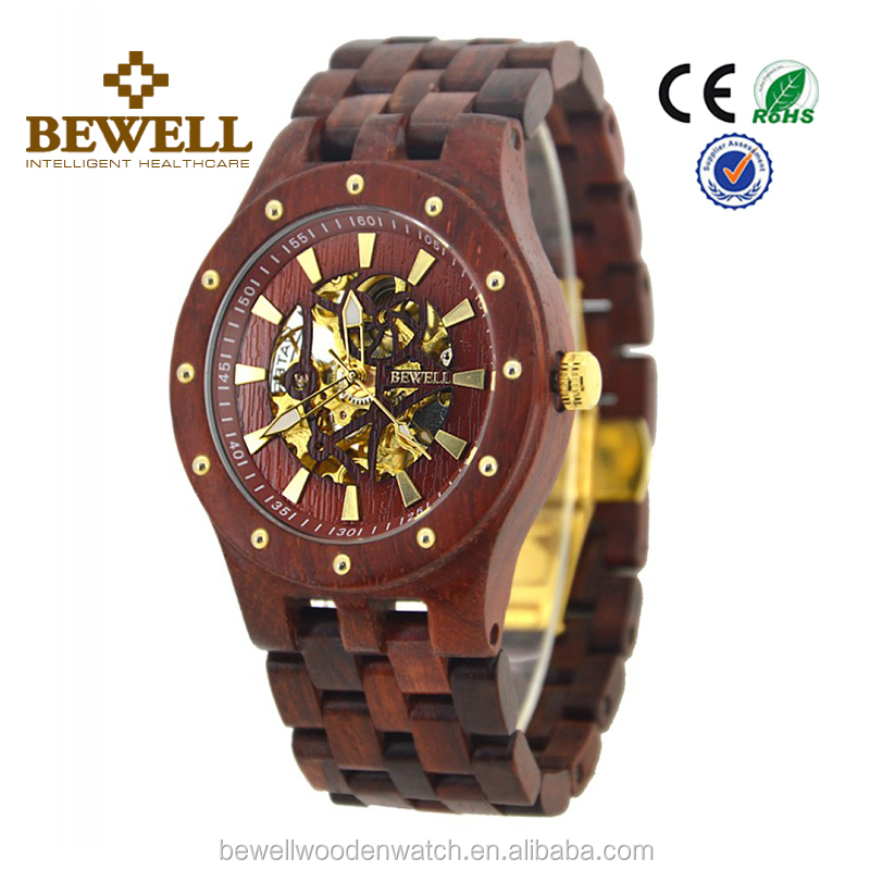 USA Hot selling popular wood watch mechanical automatic classic watch with sapphire crystal glass