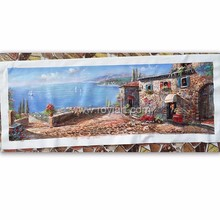 Landscape painting Mediterranean village scenery oil painting