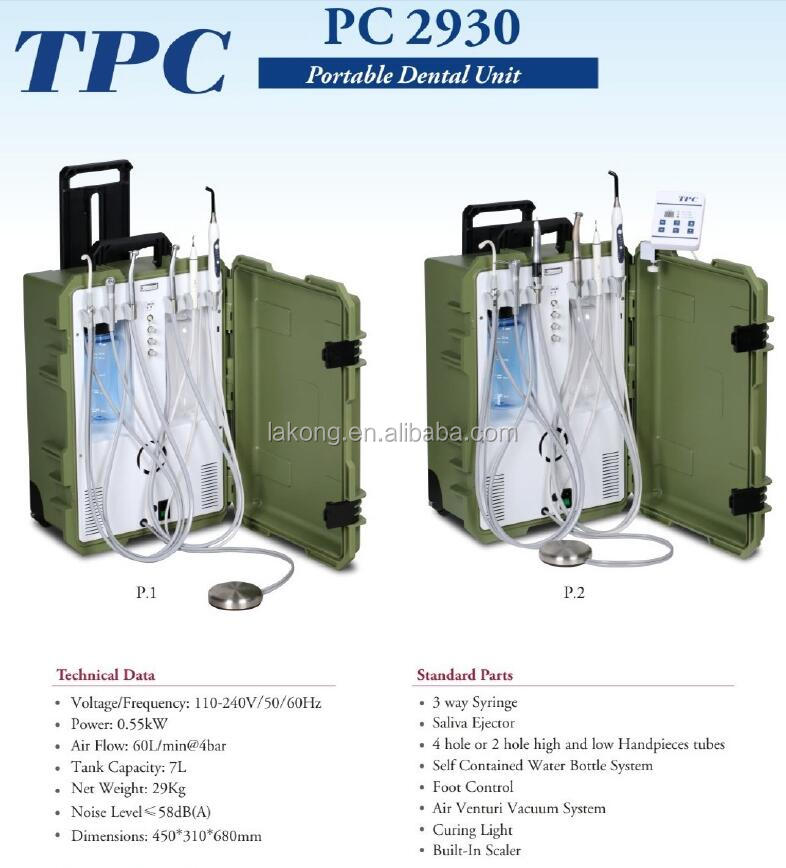 Portable dental unit equipment with air compressor, 3 way syringe, ultrasonic scaler, led curing light, saliva ejector