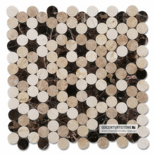 Crema Marfil mixed Emperador Dark and Light Marble Interior Wall Decoration Stone Cladding Penny Round Mosaic Tiles