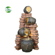 Cheap decorative jar led light polyresin water fountain