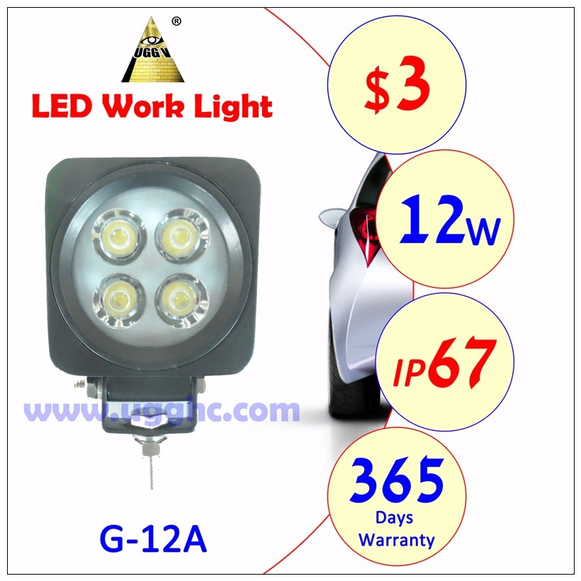 3USD good quality of car led work light facotry price 12w