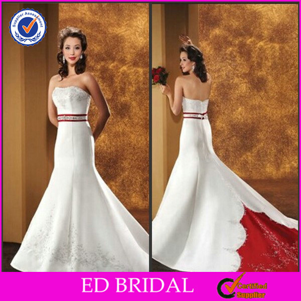 Lace Satin Long Train Cheap Red And White Wedding Dresses
