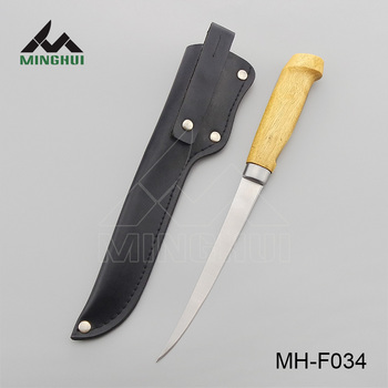 Fish processing knife with wood handle