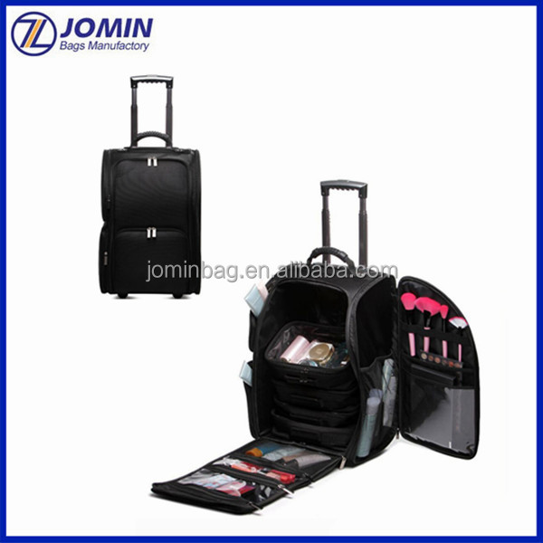 black wheeled cosmetic makeup beauty rolling soft trolley case with separate different size cosmetic bag