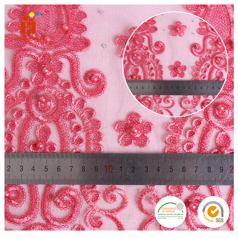 Shaoxing fabric Fluorescence pink slice sequins beads lace net embroidery fabric for bling sequin wool fabric