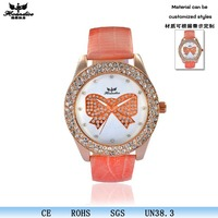 2015 new leather band quartz women watches luxury with diamonds