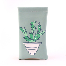 Cactus Printing Soft Sunglasses PU Pouch Glasses Pouch