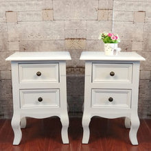 Bedside Table 2 Drawer Cabinet White Painted Wood Small Chest