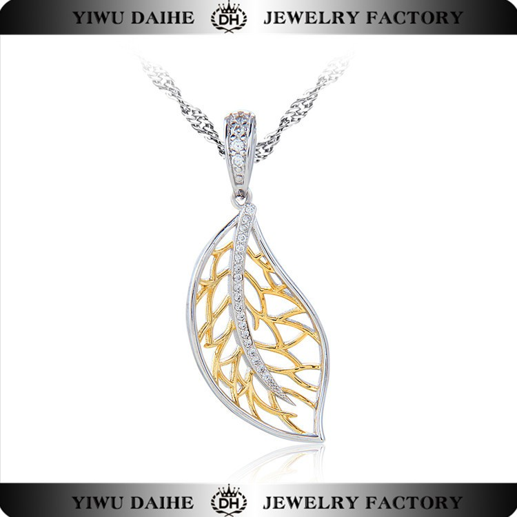Leaf shaped 925 sterling silver bridal pendant silver jewelry set