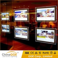 Double LED crystal acrylic light frame hanging LED llignt box a1 advertising acrylic led panel board
