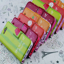 PU leather cute flip wallet case for iphone 5